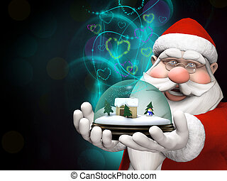 Santa holding a snow globe with  magical lights