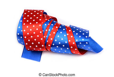 Red-blue ribbon with white polka dots