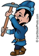 Blue Dwarf - C - Blue Dwarf - colored cartoon illustration