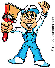 House Painter - A Cartoon Illustration of a House Painter