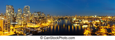 Downtown Vancouver and Granville Bridge panorama -...
