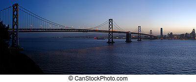 Bay Bridge in the gathering dusk A high-resolution stitched...