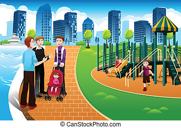 Father and their kids in the playground - A vector...