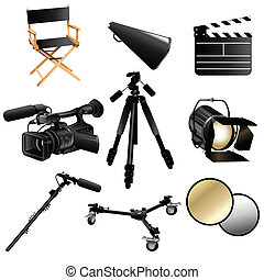 Filming movie icons - A vector illustration of filming movie...
