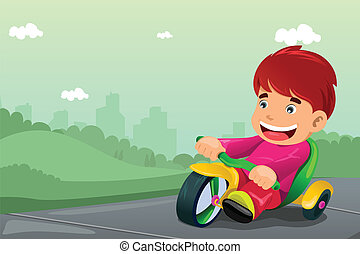 Boy riding tricycle - A vector illustration of cute boy...