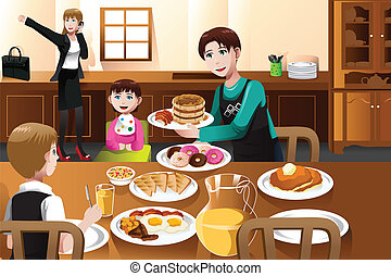 Stay at home father eating breakfast with his kids - A...