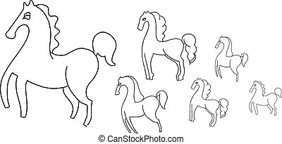 few horses outline on a white background
