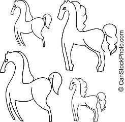 caballos, Pocos, blanco, contorno, espalda