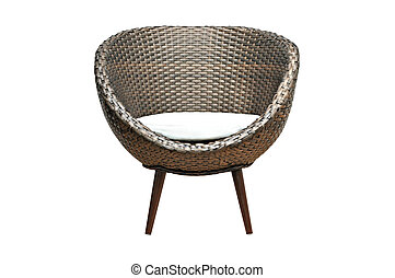 Moddern wicker chair - Modern brown wicker chair on white...
