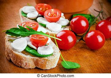 意大利干酪, 番茄, bread, 意大利語, 食物