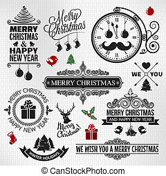 Christmas happy new year vintage or