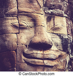 Bayon - Stone face at Bayon Temple at Angkor Wat,Cambodia