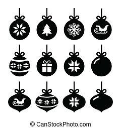 Christmas ball, christmas icons - Winter holiday icons set...