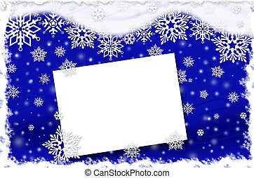 christmas card with snowflakes on dark blue background -...