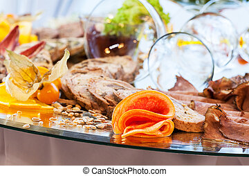 Closeup of a buffet with snacks and appetizers