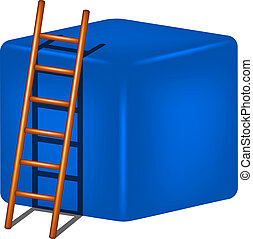 Blue cube and wooden ladder on white background