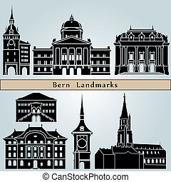 Bern landmarks and monuments isolated on blue background in...
