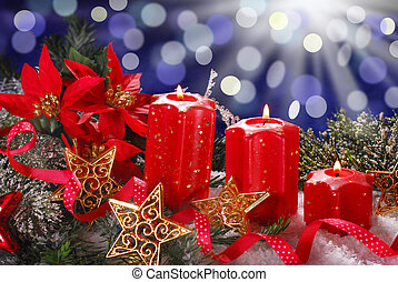 christmas decoration with red candles