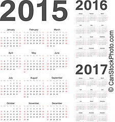 European 2015, 2016, 2017 year vector calendars - Simple...