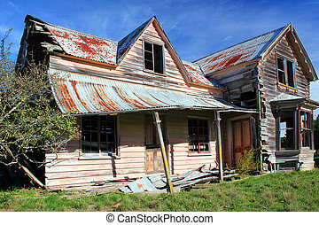 Derelict House - Old wood and corrugated iron house in poor...
