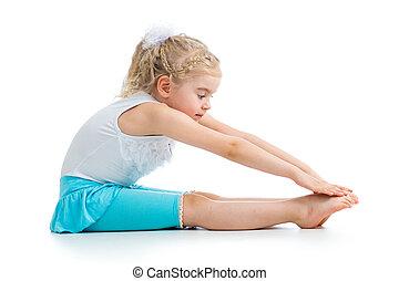 Kid girl doing fitness exercises