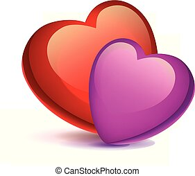 two hearts - two bright red hearts on a white background