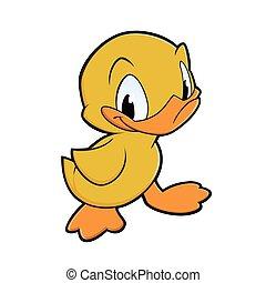 Little Duck - Vector illustration of a little cartoon duck...