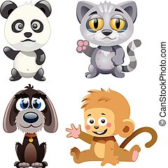 four cute animals - four cute and funny animals on a white...