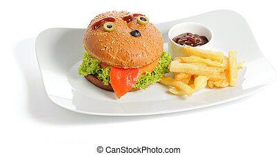 Smiling burger and fries