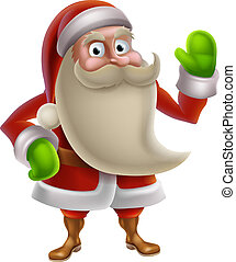 Cartoon Santa Waving - Illustration of a cartoon Christmas...