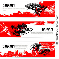 Set of Japanese sushi banners Sketch illustrations