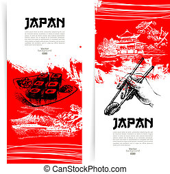 Set of Japanese sushi banners Sketch illustrations for menu