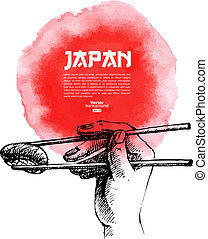 Hand drawn sushi illustratration - Hand drawn Japanese sushi...