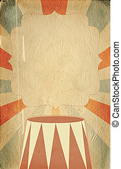 Retro circus style poster template on  sunbeam background with a space for your text