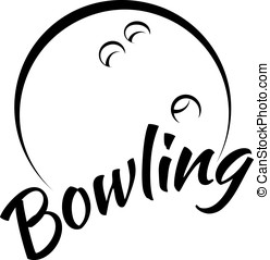 Bowling with Fun Text - Stylized vector illustration of a...