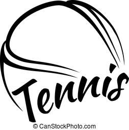 Tennis Ball with Fun Text - Stylized vector illustration of...
