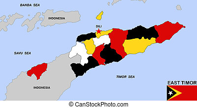 east timor map - big size political map of east timor with...