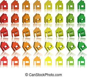 Eco houses 3D Vector