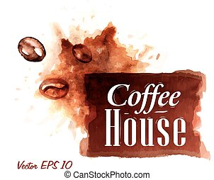 Watercolor coffee house badges. - Set of watercolor coffee...