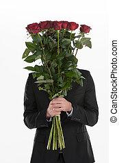 paliza, atrás, rosas, joven, hombre, tenencia, ramo,...