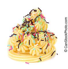Cake topped with sprinkles. Isolated on a white background.