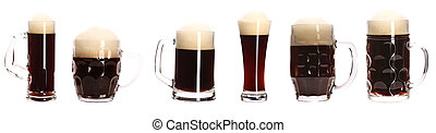 Close up of various beer mugs Isolated on a white background...