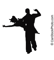 swing dance couple - swing dancers with boy holding girl in...