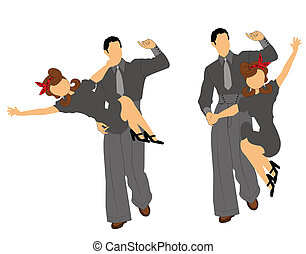 swing dancers with boy holding girl in air silhouette