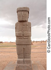 Ancient Monolith Ponce in Tiwanaku - Ancient Monolith Ponce...