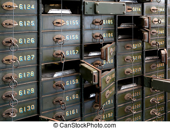 Deposit boxes in a bank