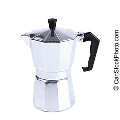 Percolator coffee with the lid closed. Isolated on a white...