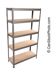 Metal industrial storage shelves. Isolated on a white...