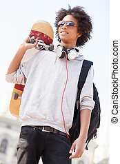 Teenager Low angle view of African descent teen