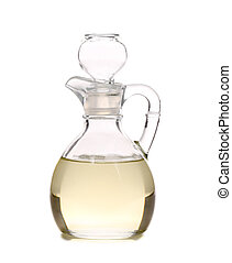 Vinegar in glass carafe Isolated on a white background